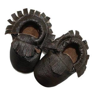 Glossy Brown Leather Fringe Moccasins